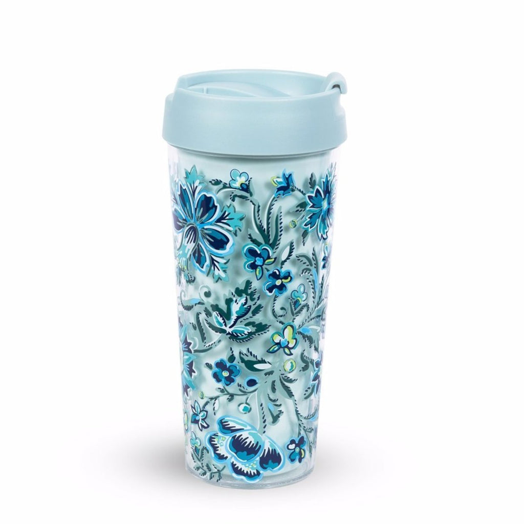 vera bradley travel mug, cloud vine