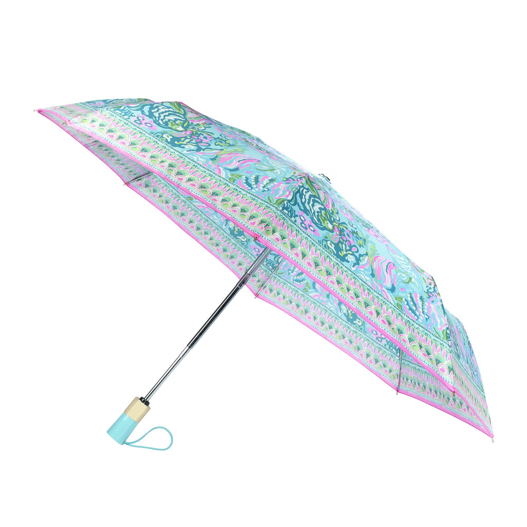 Lilly Pullitzer Travel Umbrella, Aqua La Vista