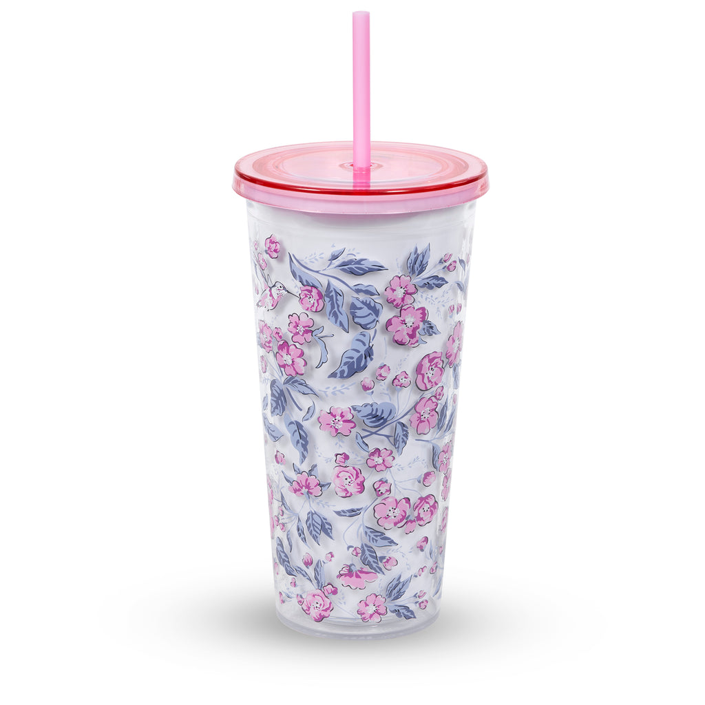 vera bradley double wall tumbler with straw, hummingbird ditsy