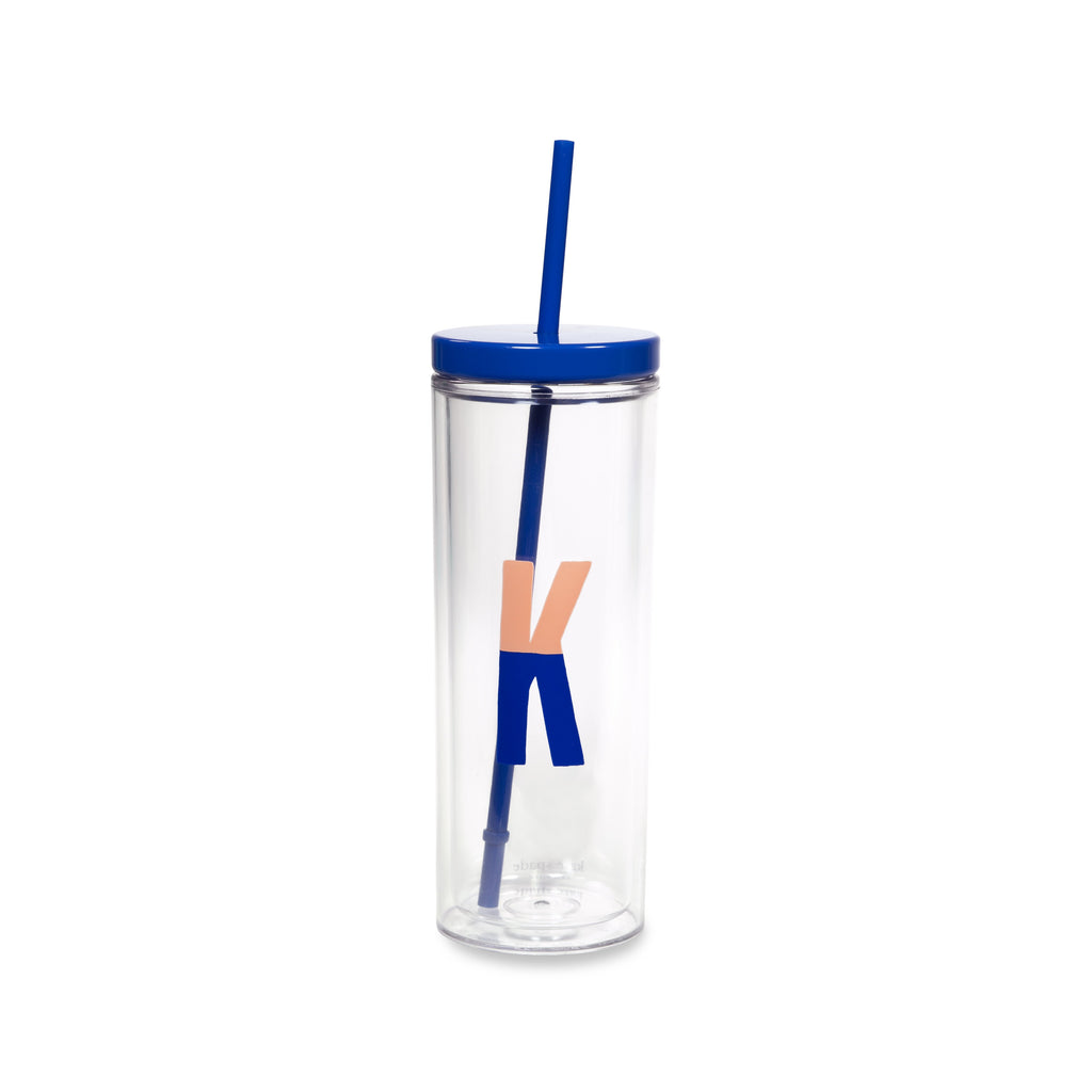 Initial Tumbler with Straw K, Sparks of Joy