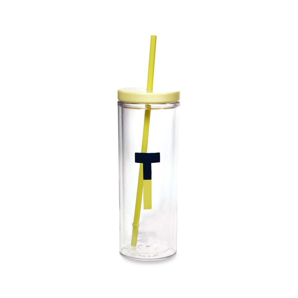 Initial Tumbler with Straw T, Sparks of Joy