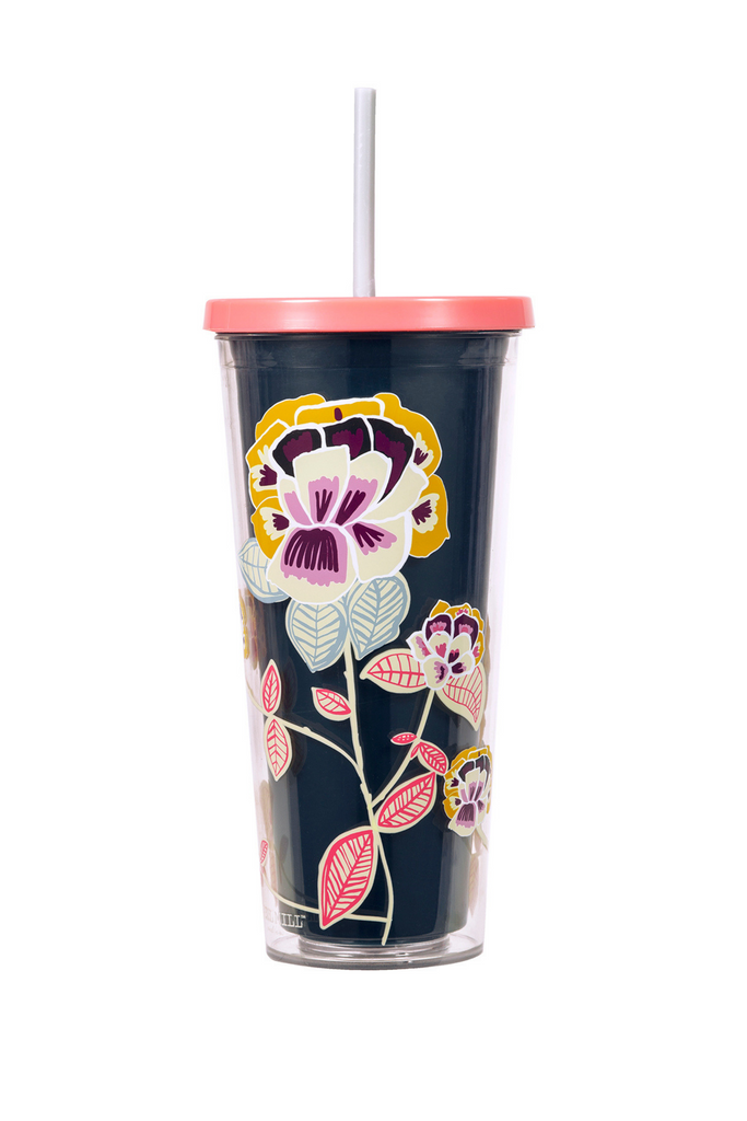 Tumbler With Straw, Navy Floral