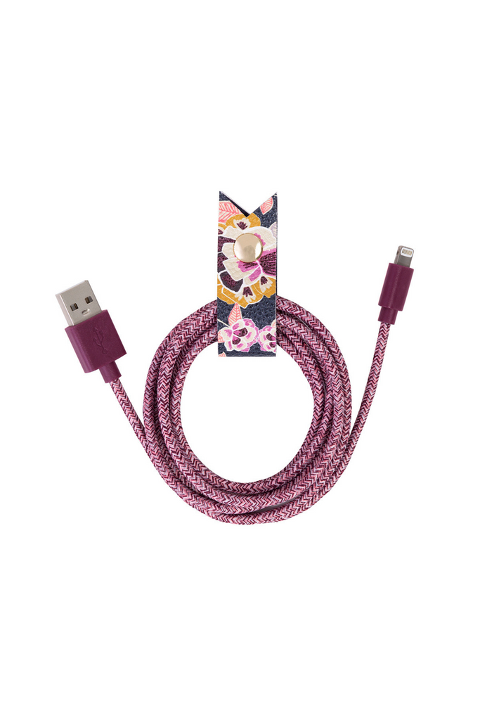 Charging Cord and Keeper, Fig Floral