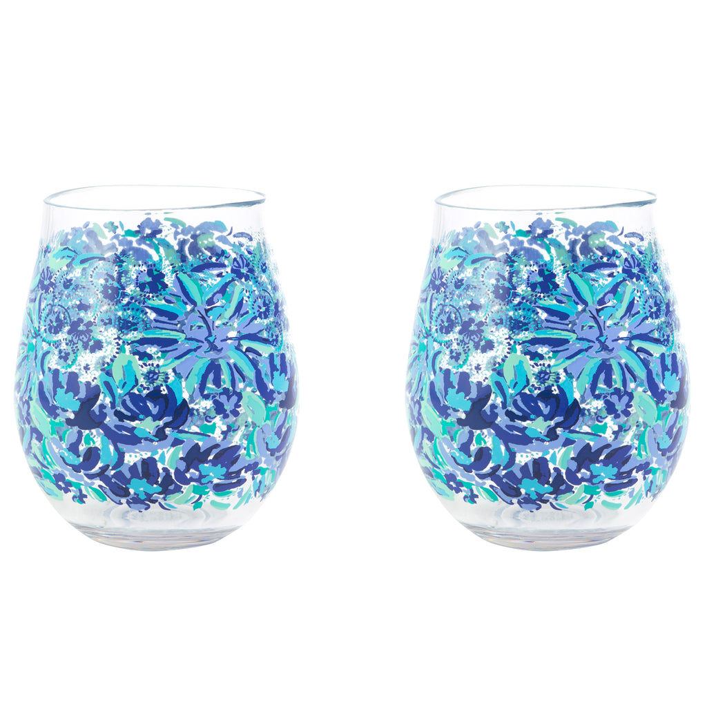 Lilly Pulitzer Acrylic Wine Glass Set, High Manetenance
