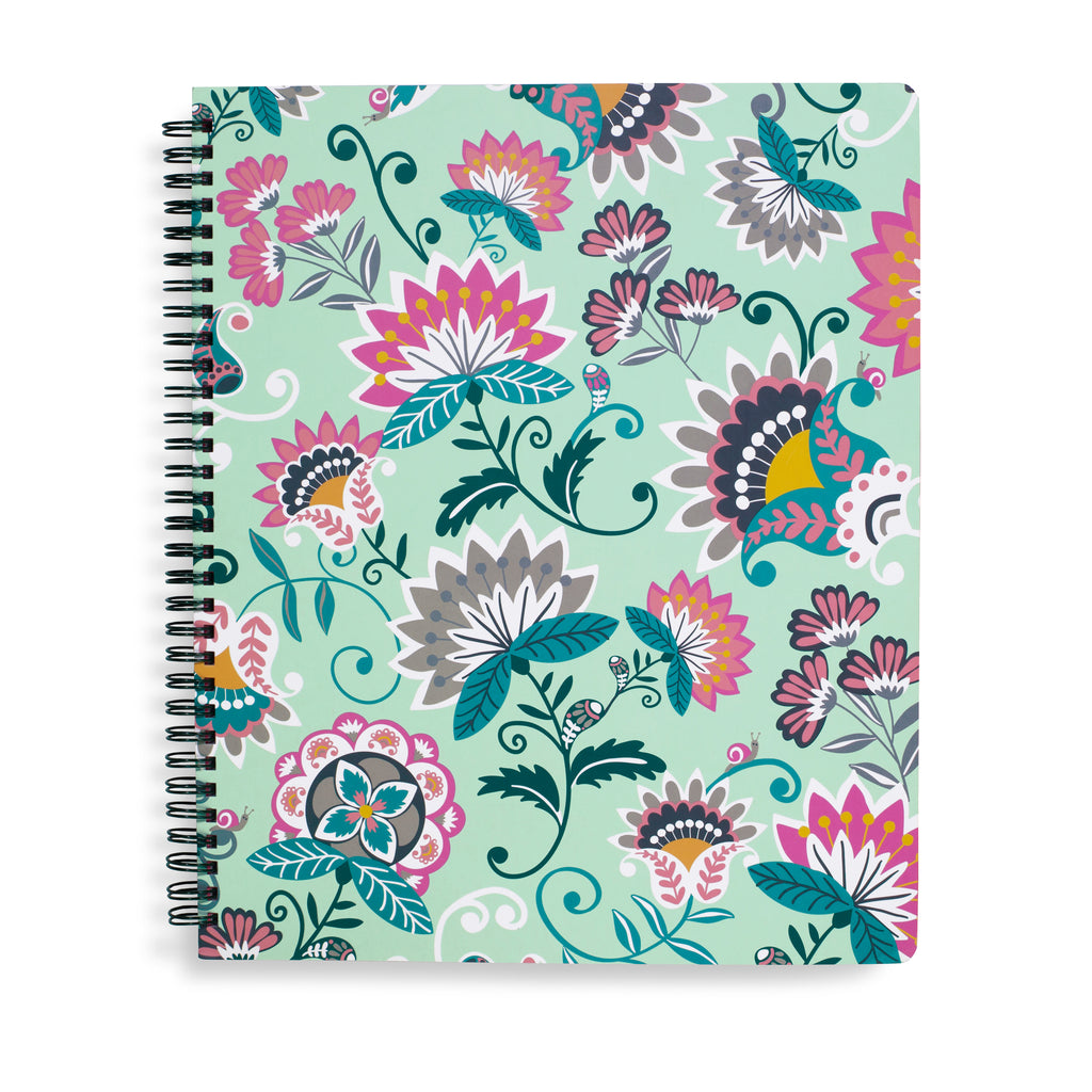 Vera Bradley Notebook With Pocket, Mint Flowers