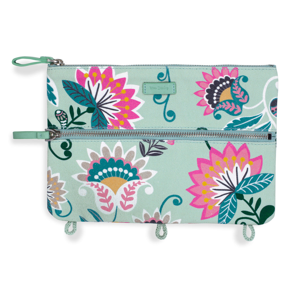 Vera Bradley Pencil Pouch, Mint Flowers