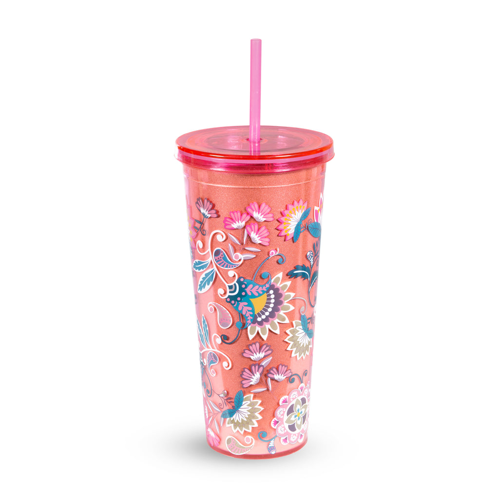 Vera Bradley Double Wall Tumbler With Straw, Blush Flowers