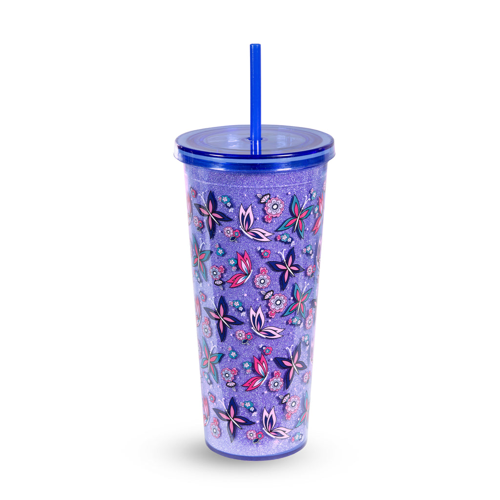 Vera Bradley Double Wall Tumbler With Straw, Makani Paisley