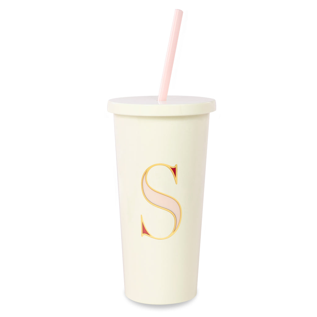 kate spade new york Initial Tumbler With Straw, S