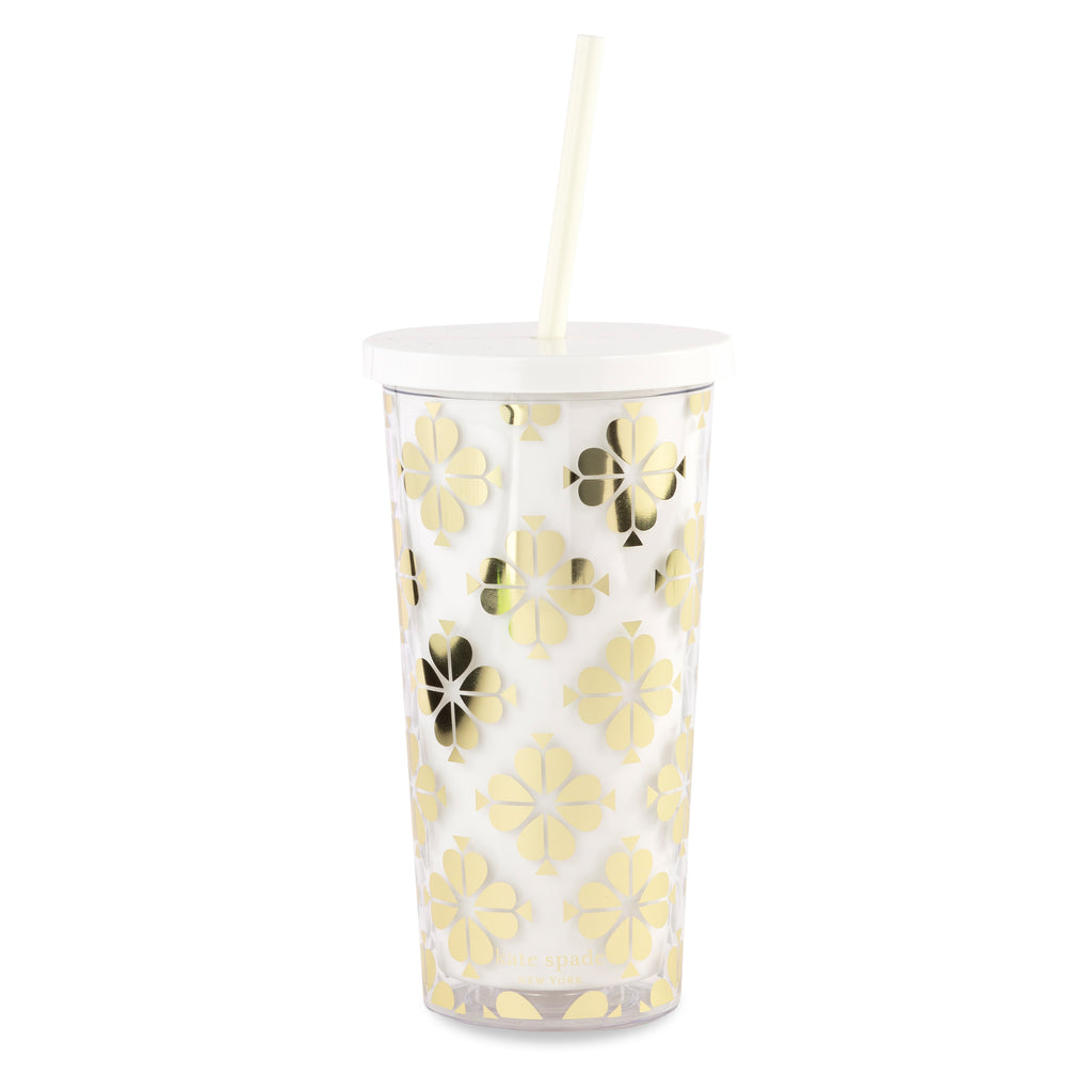 kate spade new york Tumbler With Straw, Gold Spade Flower