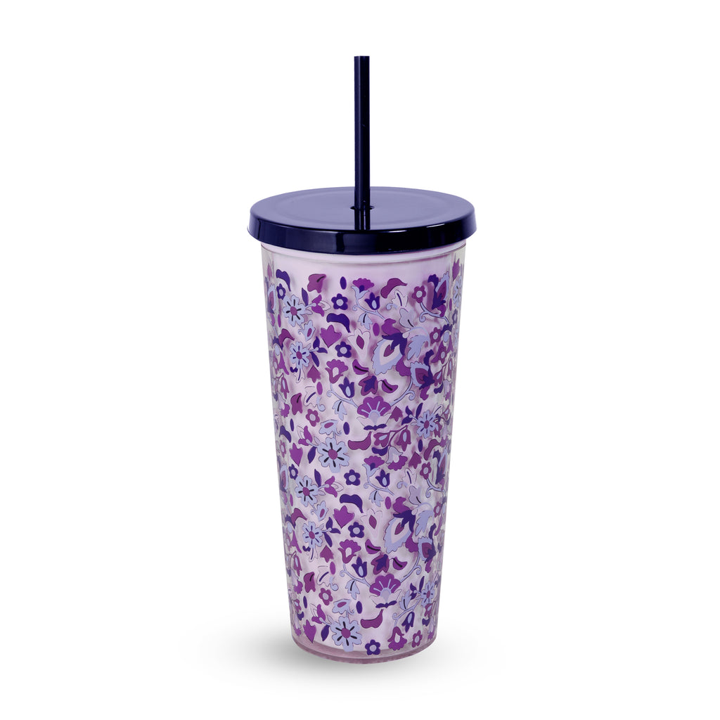 Vera Bradley Double Wall Tumbler with Straw, Regal Rosette