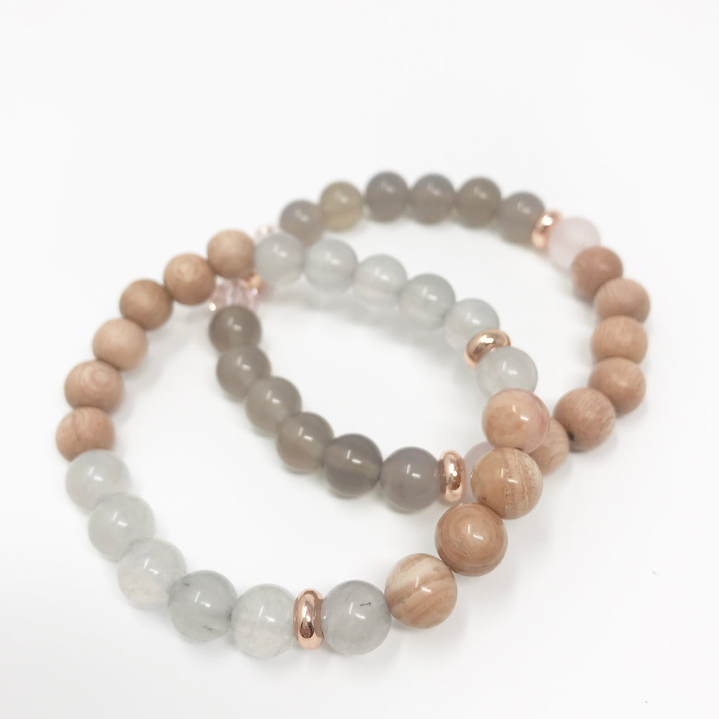 Rose + Grey Diffuser Bracelet Set