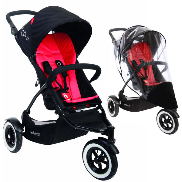 phil&teds DOT Stroller With Weather Cover - Chilli