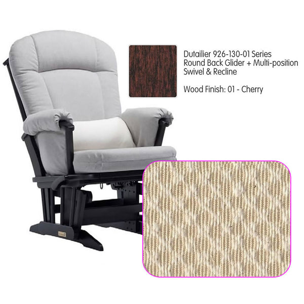 Dutailier 926 Series Glider Multi-posit, Swivel ,Recline in Cherry Cushion 3000
