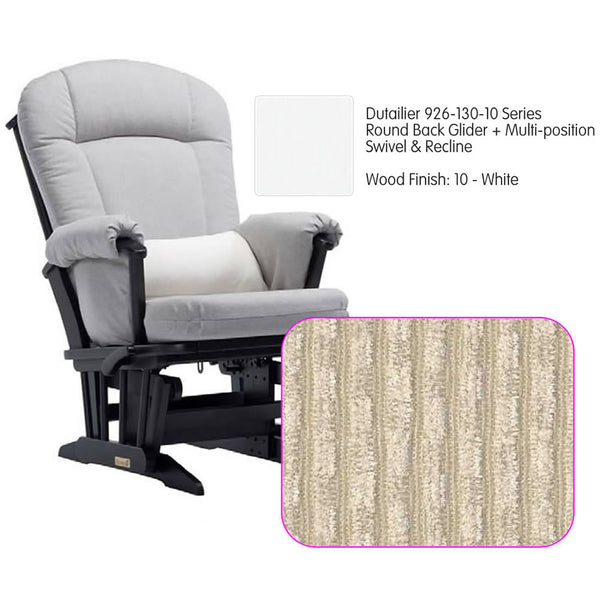 Dutailier 926 Series Glider Multi-posit, Swivel ,Recline in White Cushion 0239