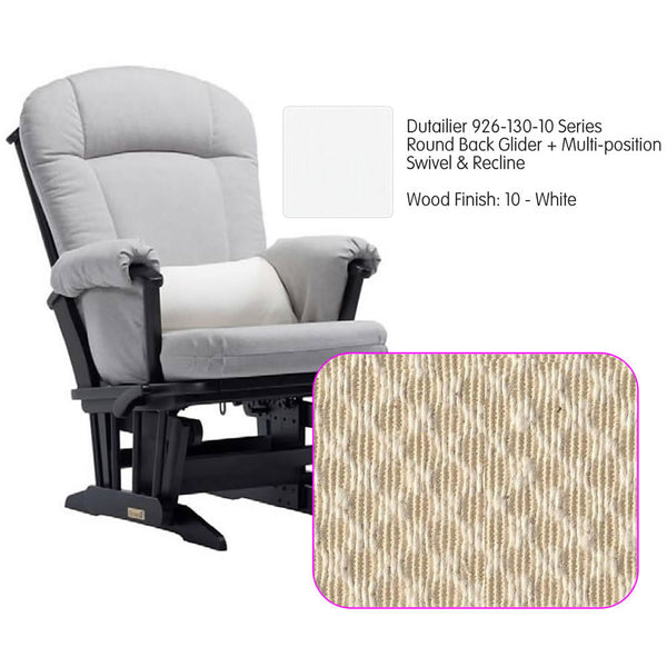 Dutailier 926 Series Glider Multi-posit, Swivel ,Recline in White Cushion 3000
