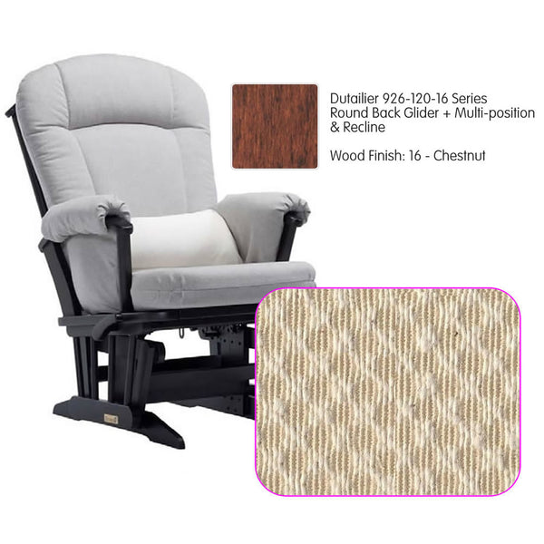 Dutailier 926 Series Multiposition Reclining Glider in Chestnut - Cushion 3000