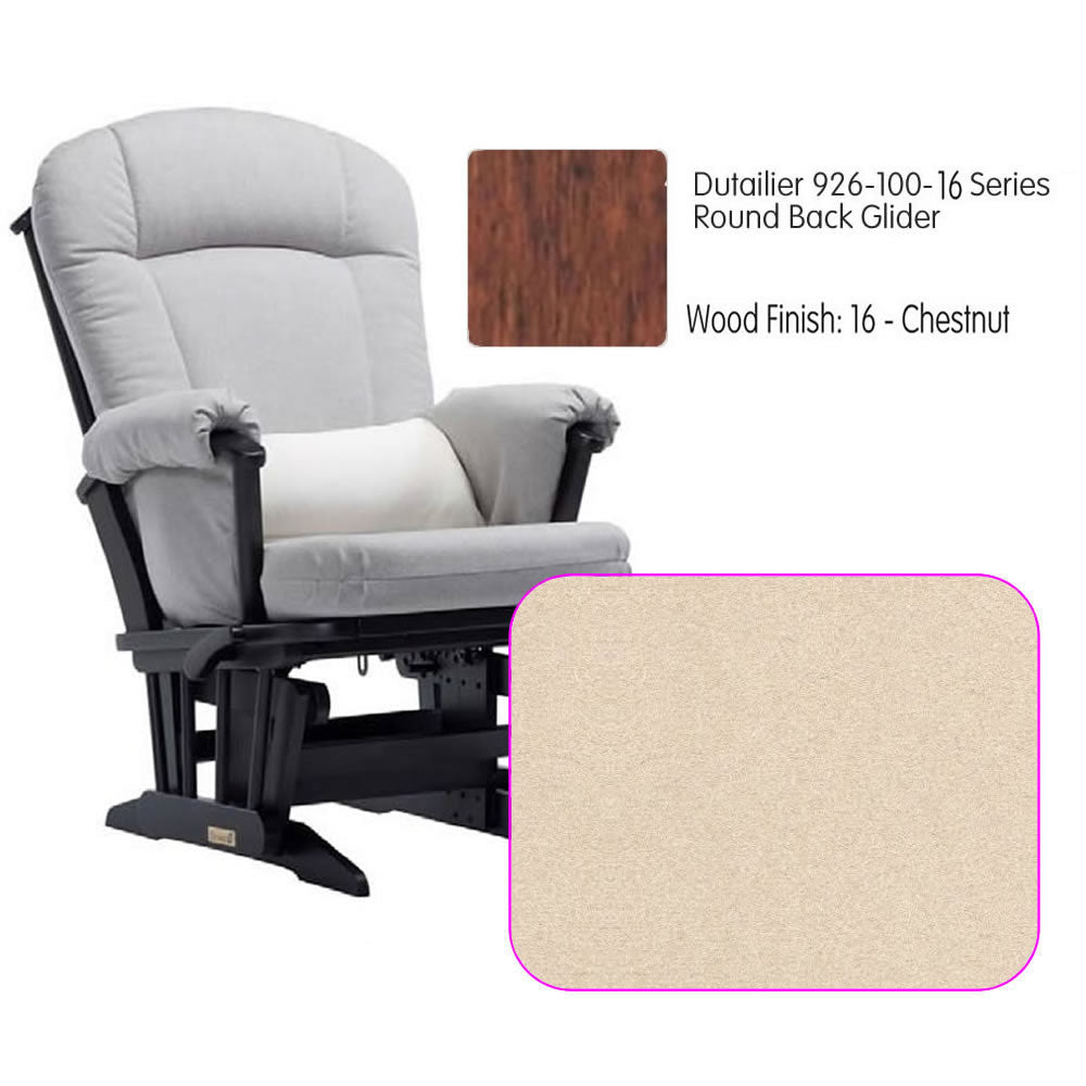 Dutailier 926 Series Round Back Maple Glider in Chestnut With Cushion 4039