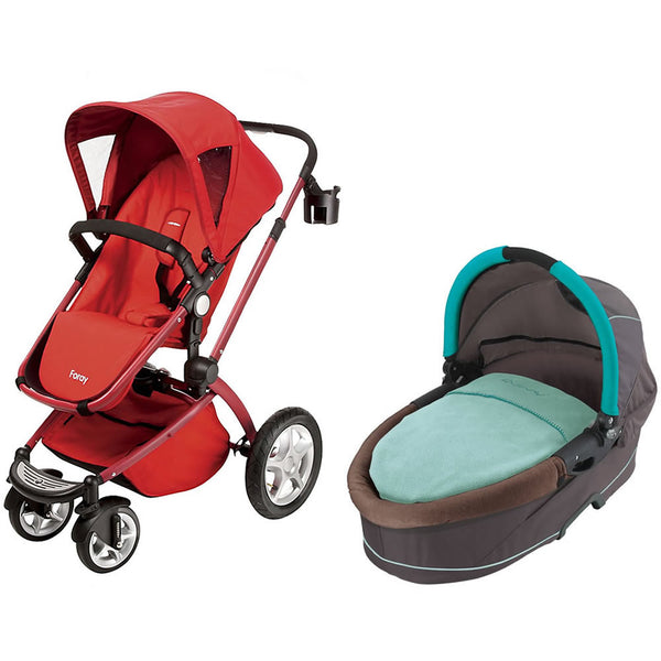 Maxi Cosi Foray LX Stroller Wtih Dreami Bassinet - Intense Red/Raccoon