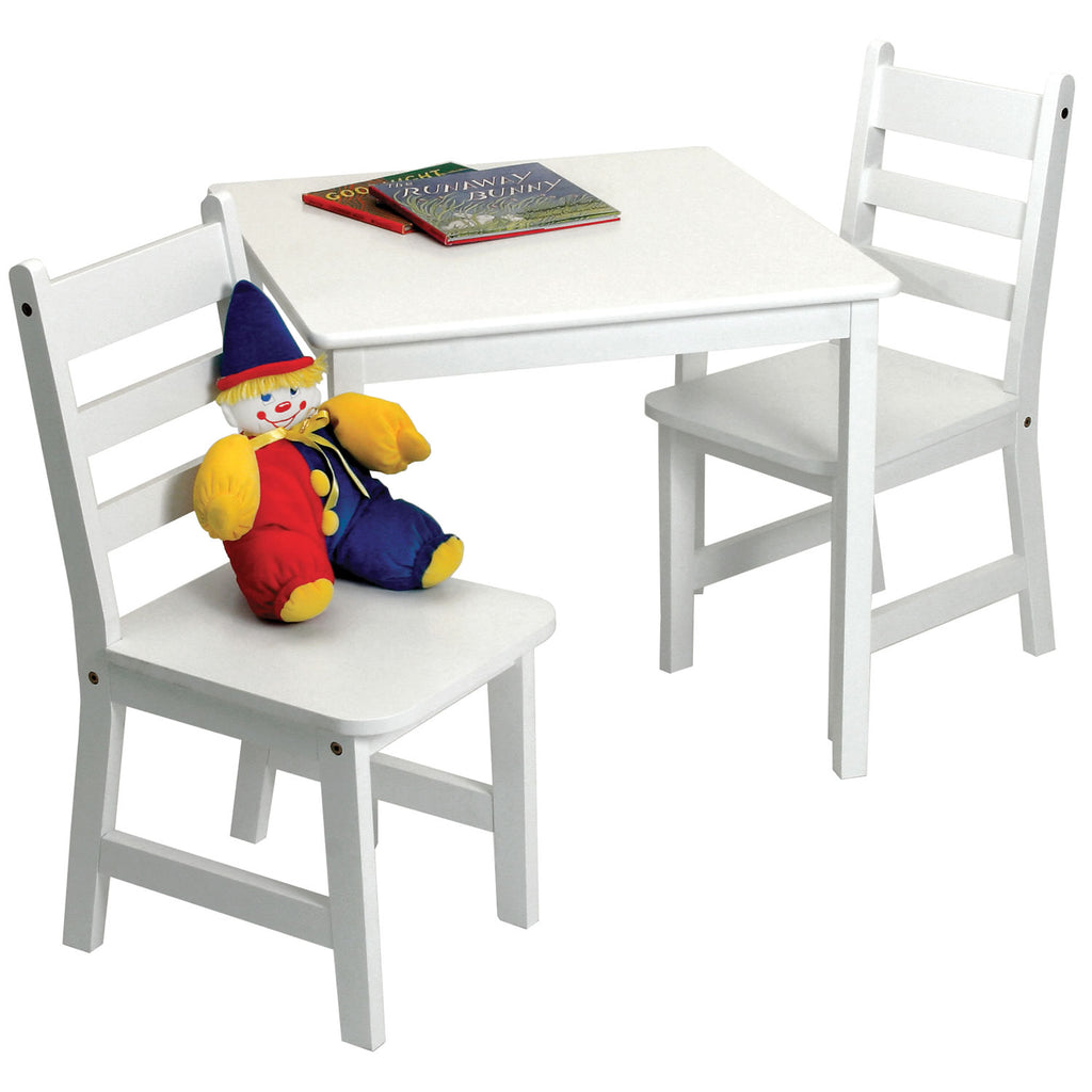 Lipper Childrens Square Table & 2 Chairs Set, White
