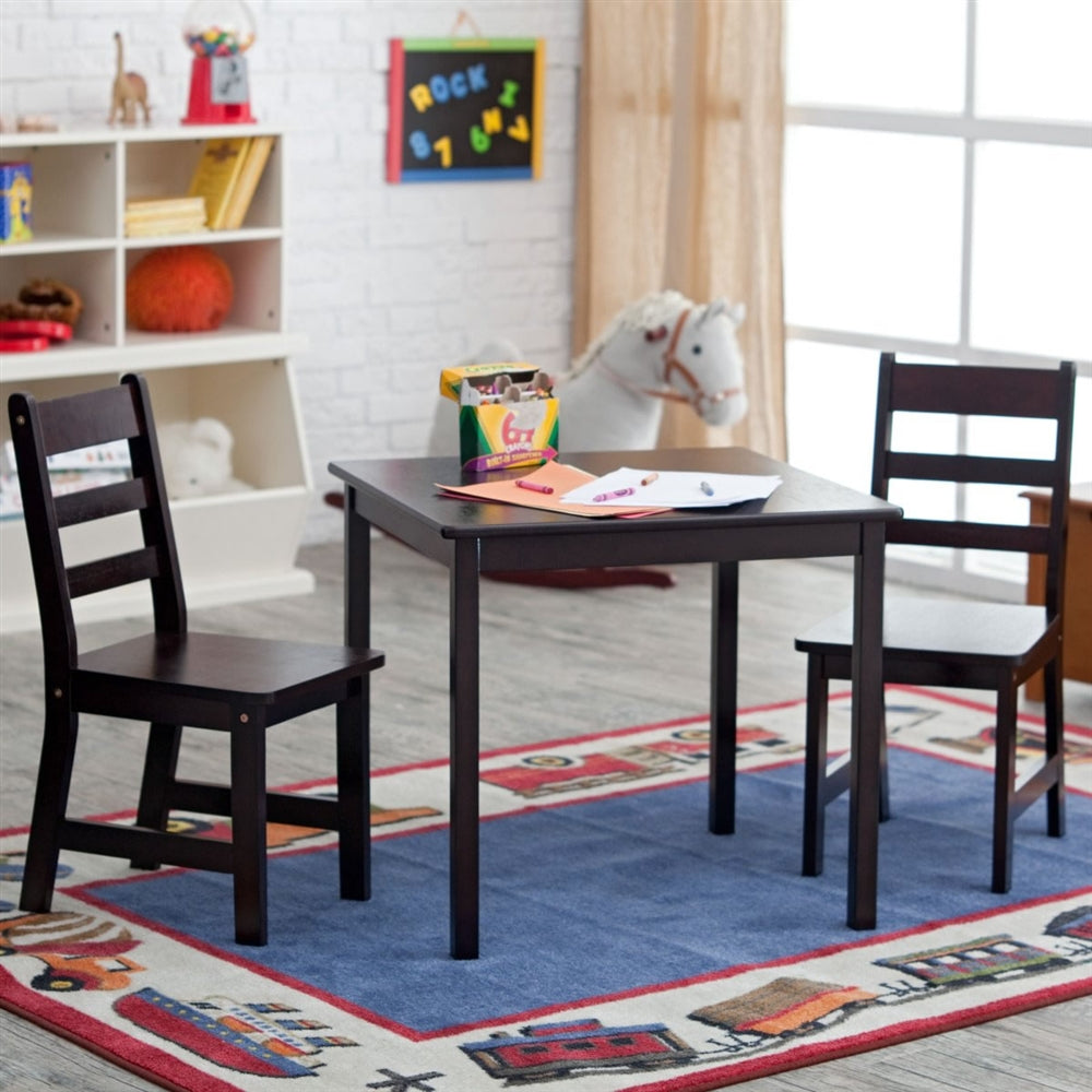 Lipper Childrens Square Table and Chair Set - Espresso – NY Baby Store