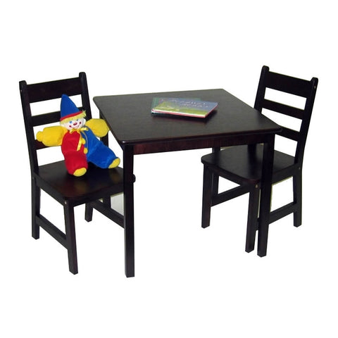 Lipper Childrens Square Table and Chair Set - Espresso