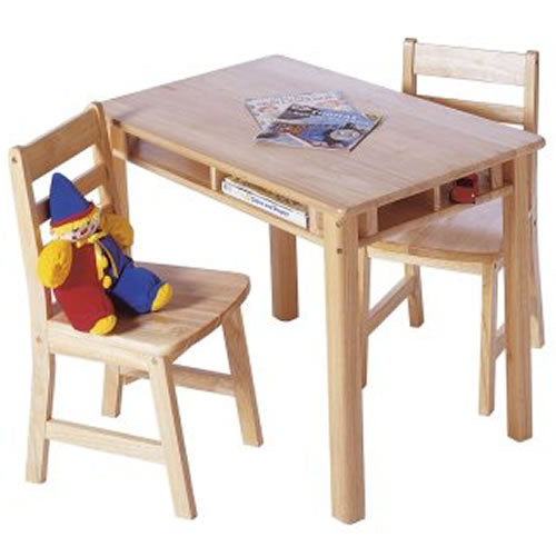 Lipper Childrens Rectangular Table with Shelves & 2 Chairs, Natural Finish