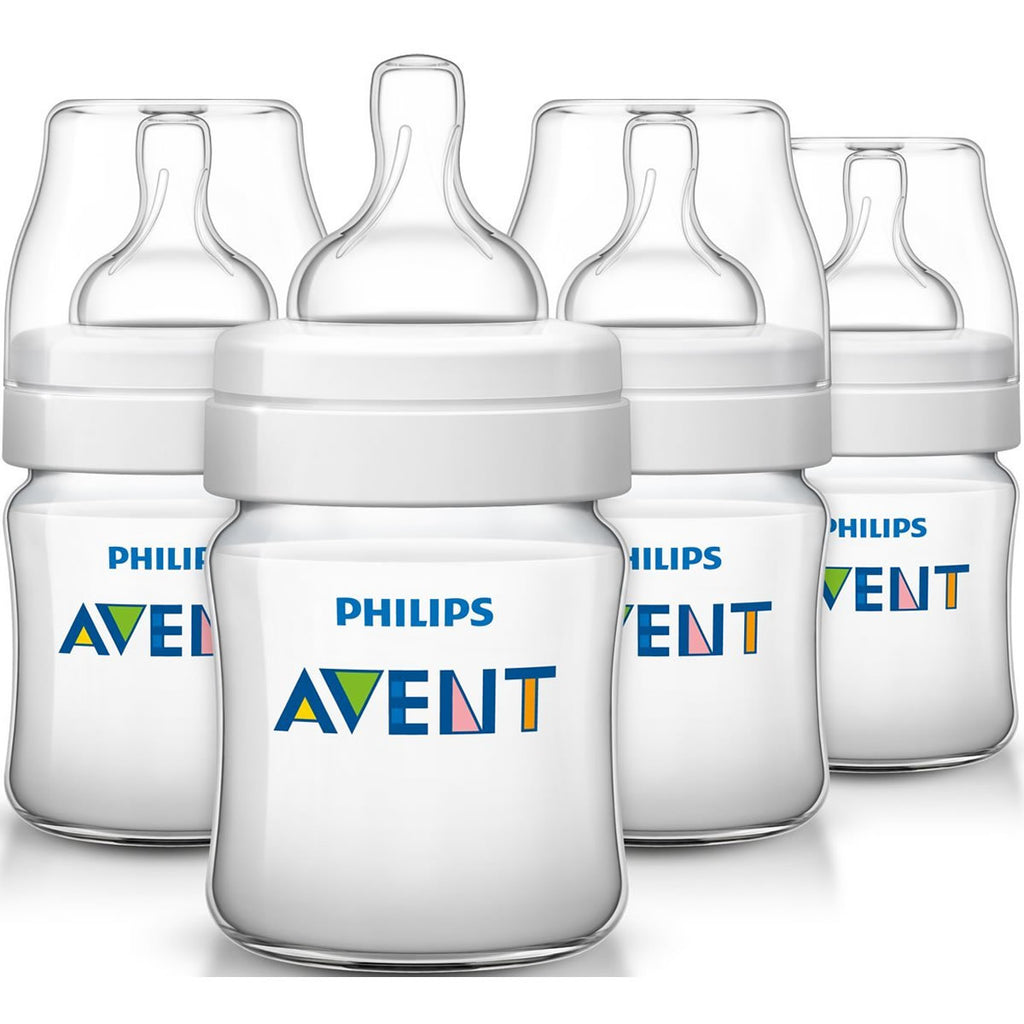 Philips Avent Anti-colic Baby Bottles Clear, 4oz (4 Pack)