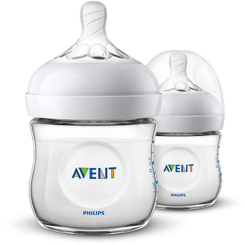 Philips Avent 4oz Natural Baby Bottles 2-Pack - Clear