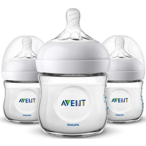 Philips Avent 4oz Natural Baby Bottles 3-Pack - Clear