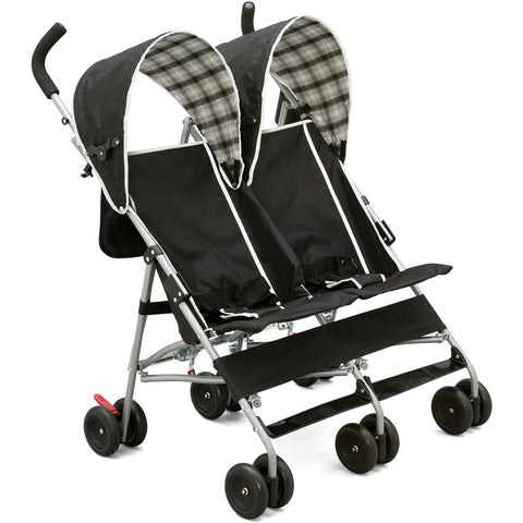 Delta Children DX Double Side by Side Umbrella Stroller, Black/White
