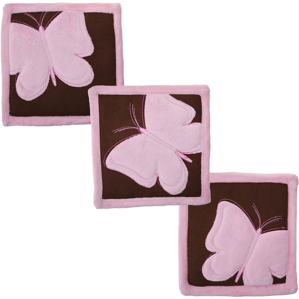 Tadpoles 3 Piece Butterfly Baby Wall Hangings Set, Pink/Brown