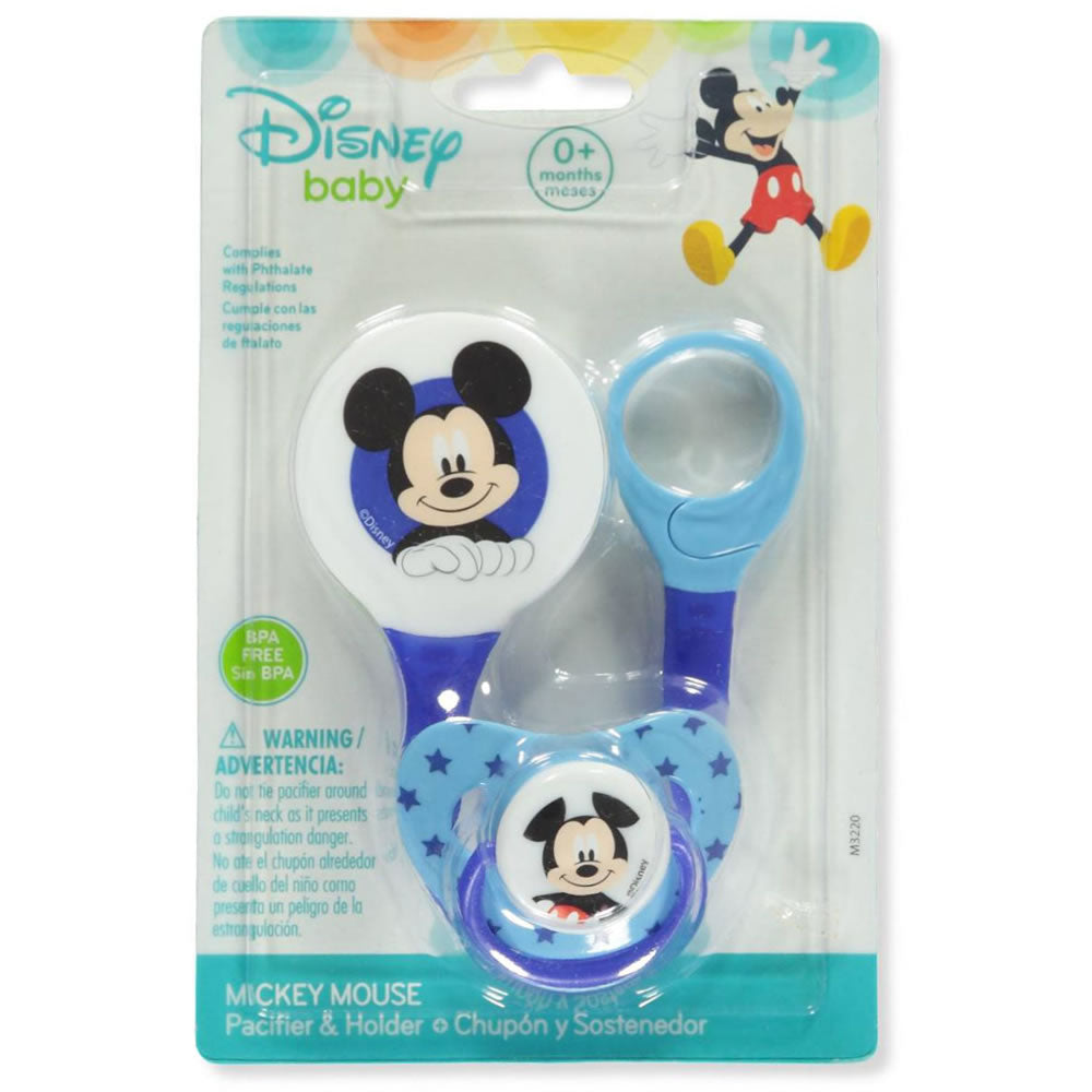 Disney Mickey Mouse Pacifier & Clip Set - Royal Blue