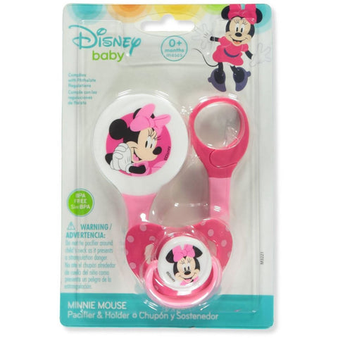 Disney Minnie Mouse Pacifier & Clip Set - Pink