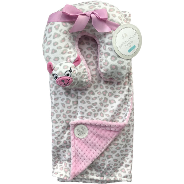 Petite L'amour Soft Plush Blanket with Travel Pillow - Pink Cat