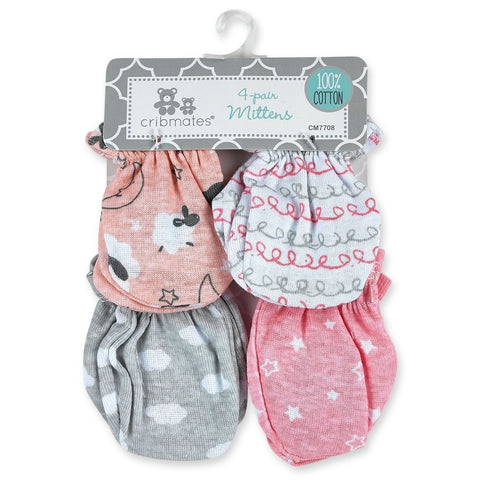 Cribmates 4 Pack Scratch Mittens - Baby Lamb
