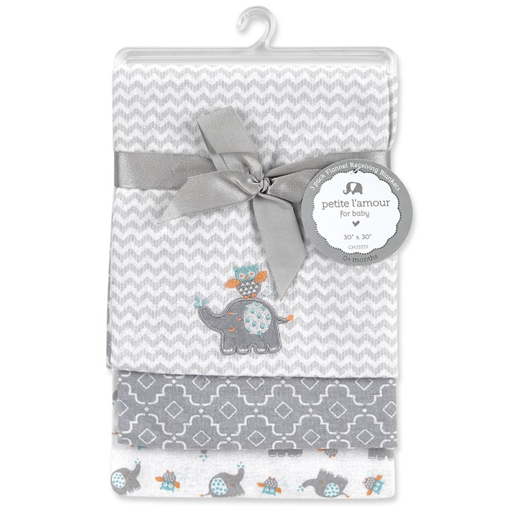 Petite L'amour 3pk Flannel Receiving Blankets - Elephant