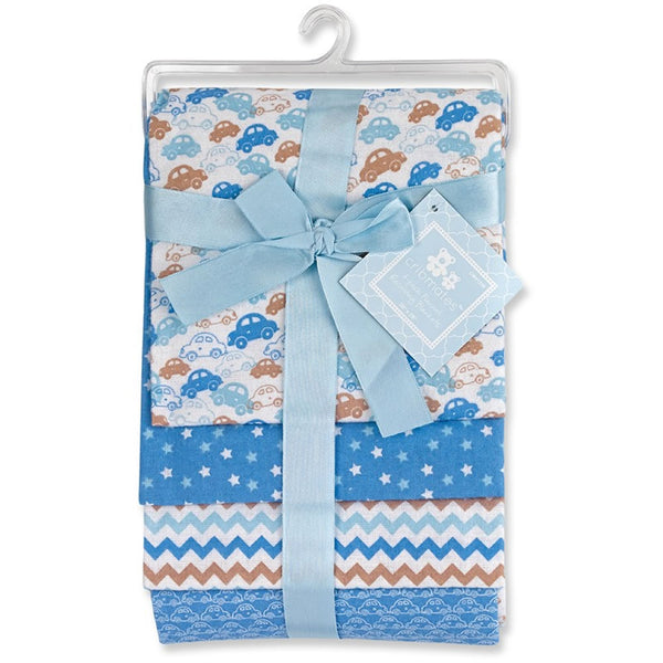 Cribmates 4-Pack Flannel Receiving Blankets - Blue Cars