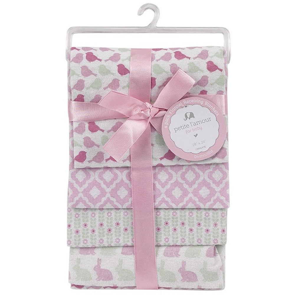 Petite L'amour 4-Pack Flannel Receiving Blankets - Birds