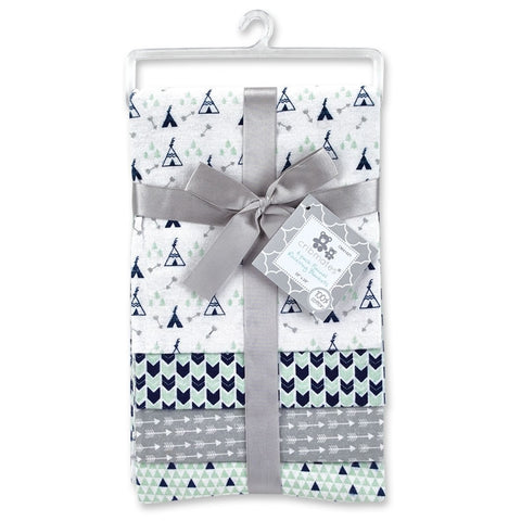 Cribmates 4-Pack Flannel Receiving Blankets - Triangles