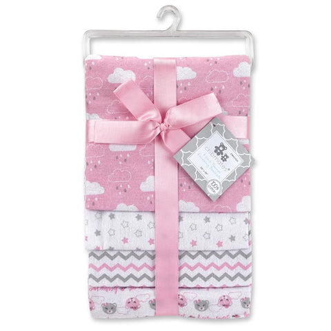 Cribmates 4-Pack Flannel Receiving Blankets - Pink