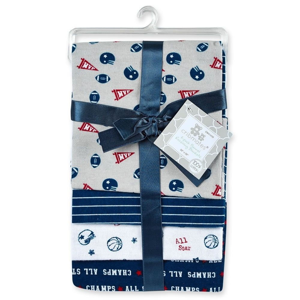 Cribmates 4-Pack Flannel Receiving Blankets - All Star