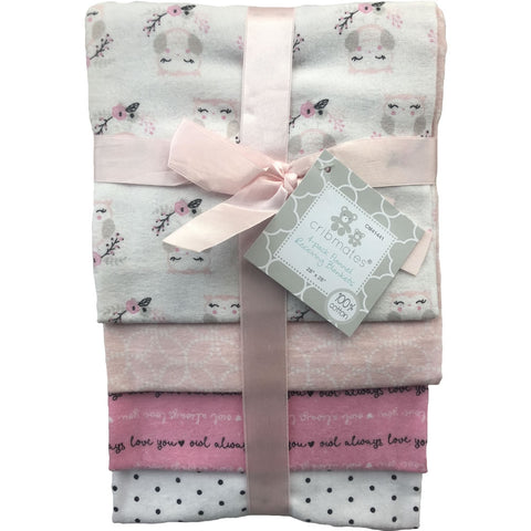 Cribmates 4-Pack Flannel Receiving Blankets - Baby Owls