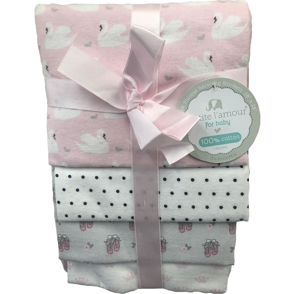 Petite L'amour 4-Pack Flannel Receiving Blankets - Pink