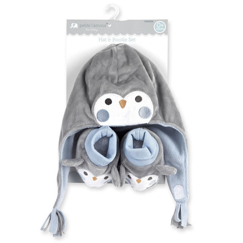 Petite L'amour Newborn Hat and Bootie Set - Blue Penguin