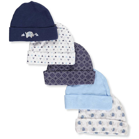 Cribmates Infant Baby Caps 0-6 Months - 5 Pack, Blue Elephant