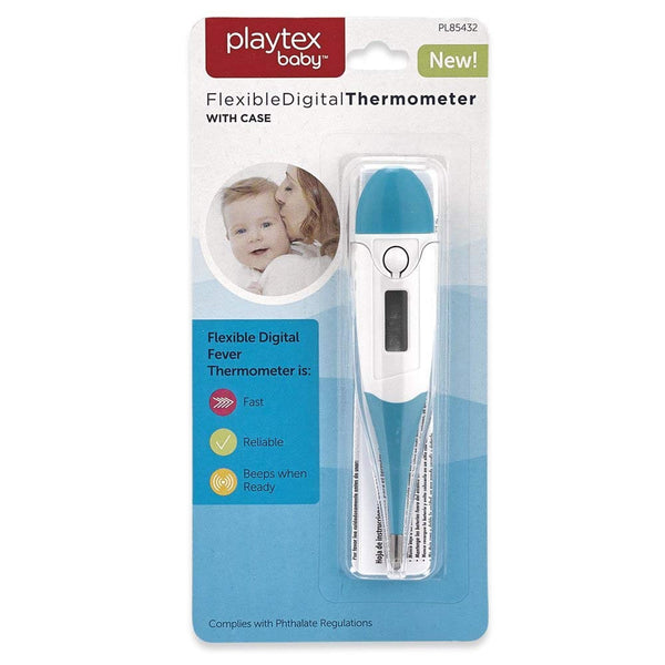 Playtex Baby Flexible Digital Thermometer with Case, Blue