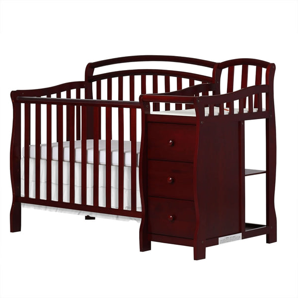 Dream On Me Casco 3 in 1 Mini Crib and Changer in Cherry