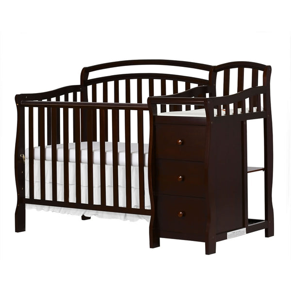 Dream On Me Casco 3 in 1 Mini Crib and Changer in Espresso