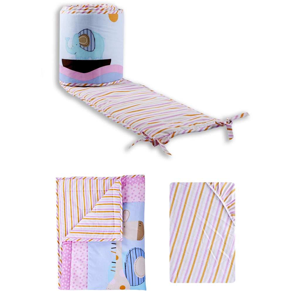 Dream On Me 3 Pc Set Portable Crib Bedding Set, Sea Friends